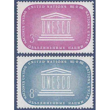 Sello colección ONU Nueva York N° Yvert y Tellier 33/34 Nueve sin bisagra