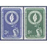 Sello colección ONU Nueva York N° Yvert y Tellier 38/39 Nueve sin bisagra
