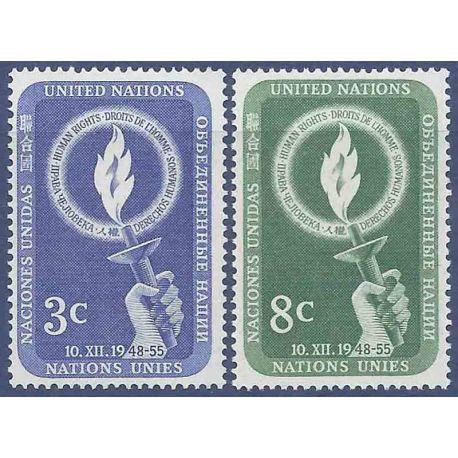 Francobollo raccolta ONU New York N° Yvert e Tellier 38/39 nove senza cerniera