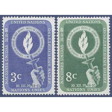 Timbre collection ONU New-York N° Yvert et Tellier 38/39 Neuf sans charnière