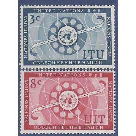 Sello colección ONU Nueva York N° Yvert y Tellier 40/41 Nueve sin bisagra