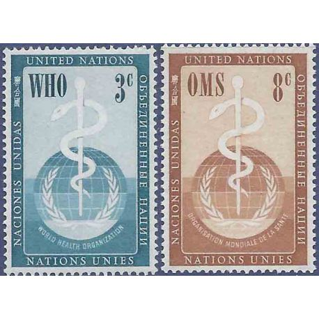 Timbre collection ONU New-York N° Yvert et Tellier 42/43 Neuf sans charnière