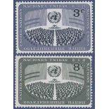 Francobollo raccolta ONU New York N° Yvert e Tellier 44/45 nove senza cerniera