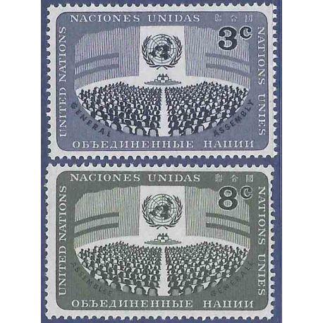 Sello colección ONU Nueva York N° Yvert y Tellier 44/45 Nueve sin bisagra