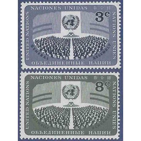 Timbre collection ONU New-York N° Yvert et Tellier 44/45 Neuf sans charnière
