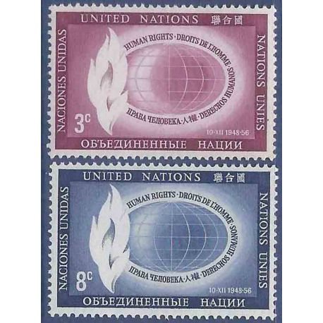 Francobollo raccolta ONU New York N° Yvert e Tellier 46/47 nove senza cerniera