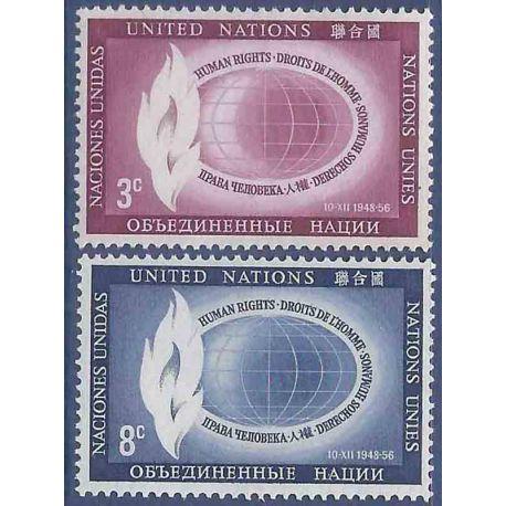 Sello colección ONU Nueva York N° Yvert y Tellier 46/47 Nueve sin bisagra