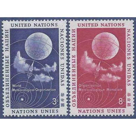 Francobollo raccolta ONU New York N° Yvert e Tellier 48/49 nove senza cerniera
