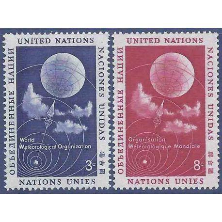 Sello colección ONU Nueva York N° Yvert y Tellier 48/49 Nueve sin bisagra