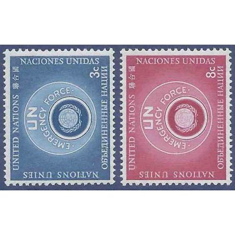 Francobollo raccolta ONU New York N° Yvert e Tellier 50/51 nove senza cerniera