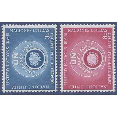 Sello colección ONU Nueva York N° Yvert y Tellier 50/51 Nueve sin bisagra