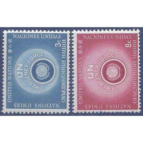 Sello colección ONU Nueva York N° Yvert y Tellier 50A/51A Nuevo sin bisagra