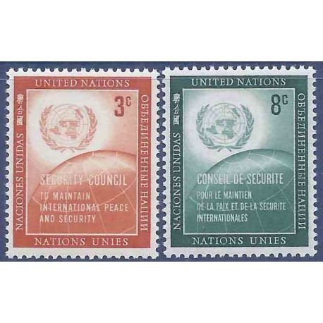 Francobollo raccolta ONU New York N° Yvert e Tellier 52/53 nove senza cerniera
