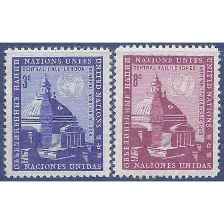 Briefmarkensammlung UNO New York N° Yvert und Tellier 58/59 neun ohne Scharnier