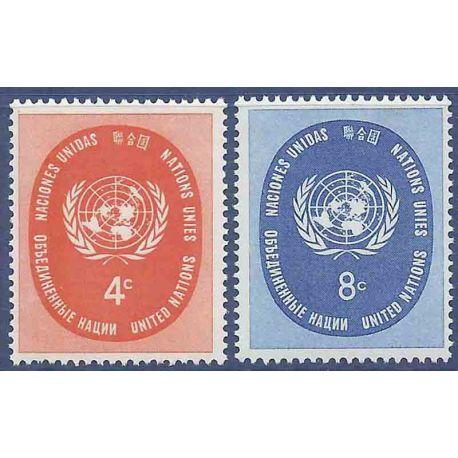 Briefmarkensammlung UNO New York N° Yvert und Tellier 60/61 neun ohne Scharnier