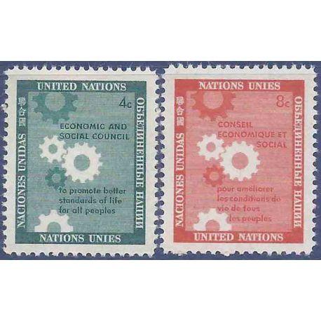 Briefmarkensammlung UNO New York N° Yvert und Tellier 62/63 neun ohne Scharnier