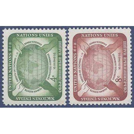 Briefmarkensammlung UNO New York N° Yvert und Tellier 64/65 neun ohne Scharnier