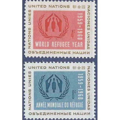 Briefmarkensammlung UNO New York N° Yvert und Tellier 72/73 neun ohne Scharnier