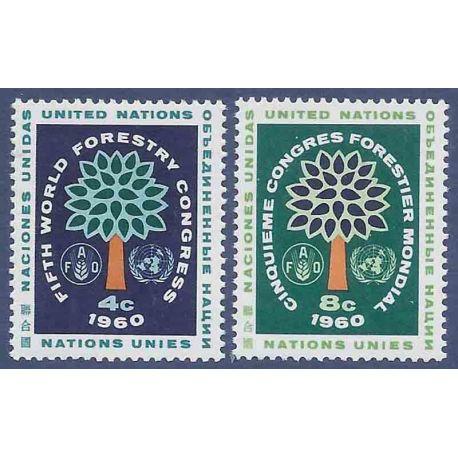 Briefmarkensammlung UNO New York N° Yvert und Tellier 78/79 neun ohne Scharnier