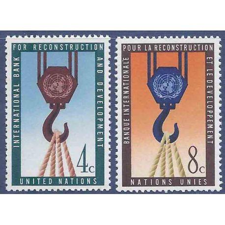 Briefmarkensammlung UNO New York N° Yvert und Tellier 82/83 neun ohne Scharnier