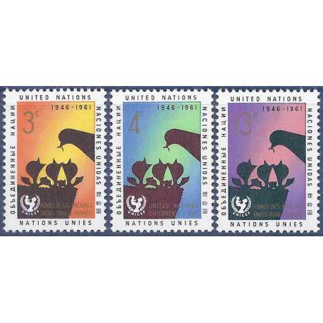 Briefmarkensammlung UNO New York N° Yvert und Tellier 93/95 neun ohne Scharnier