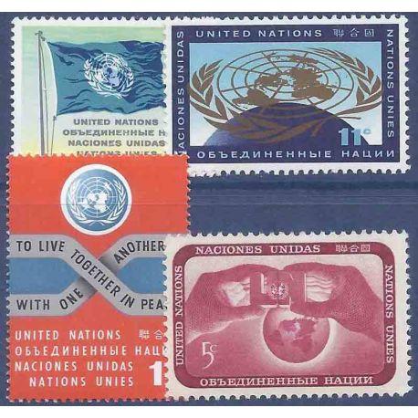 Briefmarkensammlung UNO New York N° Yvert und Tellier 100/103 neun ohne Scharnier
