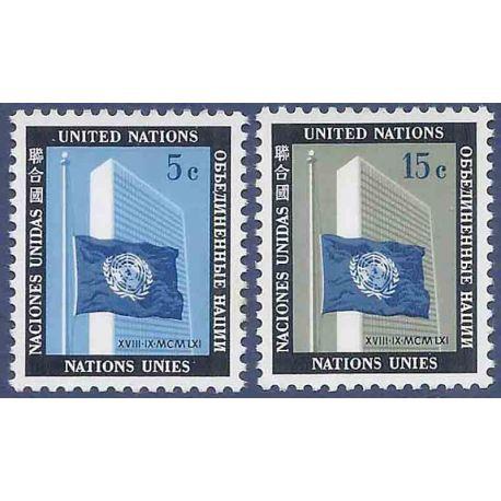 Briefmarkensammlung UNO New York N° Yvert und Tellier 104/105 neun ohne Scharnier