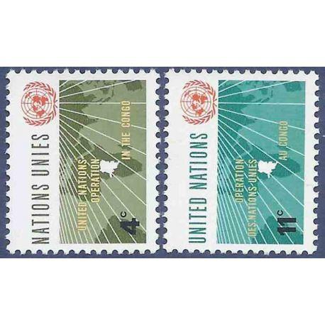 Briefmarkensammlung UNO New York N° Yvert und Tellier 106/107 neun ohne Scharnier