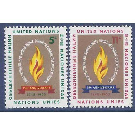 Briefmarkensammlung UNO New York N° Yvert und Tellier 117/118 neun ohne Scharnier