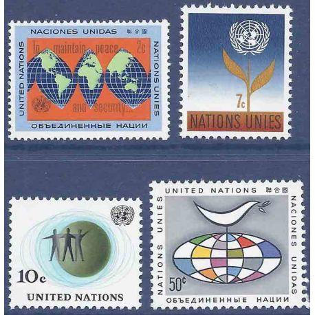 Briefmarkensammlung UNO New York N° Yvert und Tellier 121/124 neun ohne Scharnier