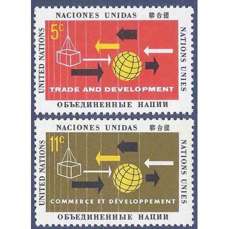 Briefmarkensammlung UNO New York N° Yvert und Tellier 125/126 neun ohne Scharnier