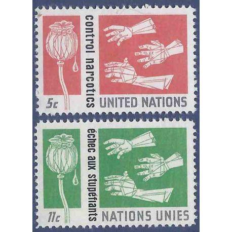 Briefmarkensammlung UNO New York N° Yvert und Tellier 127/128 neun ohne Scharnier