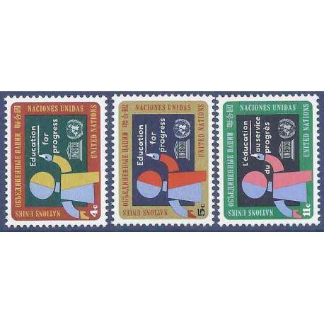 Briefmarkensammlung UNO New York N° Yvert und Tellier 130/132 neun ohne Scharnier