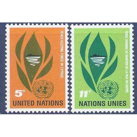 Briefmarkensammlung UNO New York N° Yvert und Tellier 135/136 neun ohne Scharnier