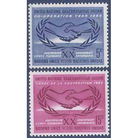 Briefmarkensammlung UNO New York N° Yvert und Tellier 139/140 neun ohne Scharnier