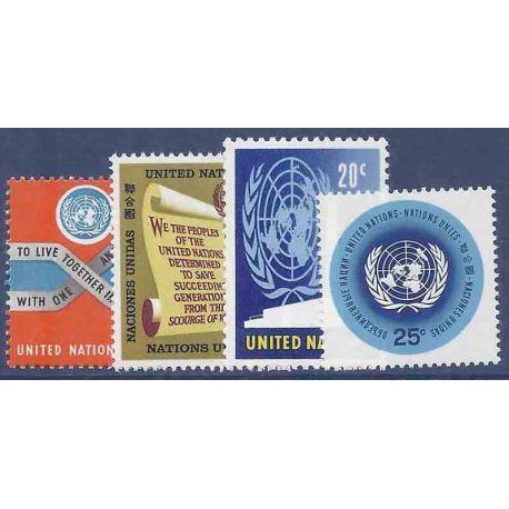 Briefmarkensammlung UNO New York N° Yvert und Tellier 141/144 neun ohne Scharnier