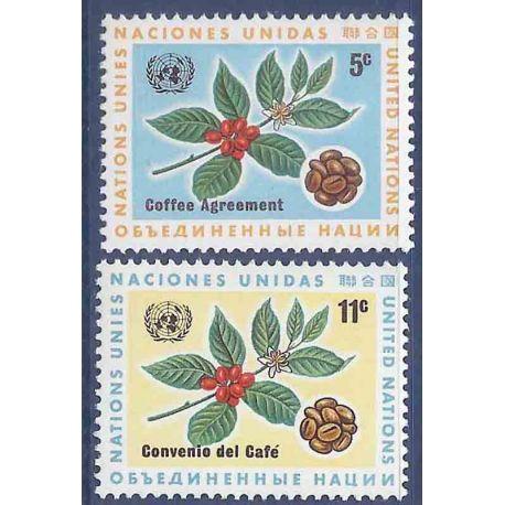 Briefmarkensammlung UNO New York N° Yvert und Tellier 153/154 neun ohne Scharnier