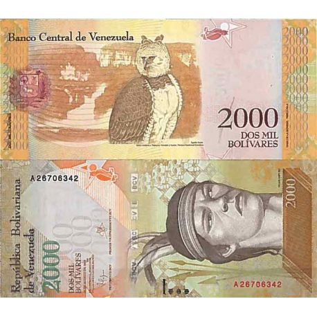 Billet de banque collection Venezuela - PK N° 999 - 2 000 Bolivares