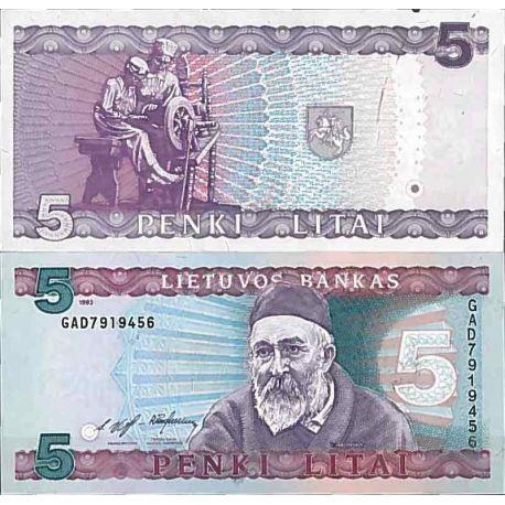 Billet de banque collection Lituanie - PK N° 55 - 5 Litai