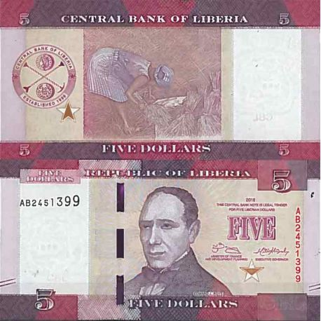 Billets de collection Billet de banque collection Liberia - PK N° 31 - 5 Dollars Billets du Liberia 2,00 €
