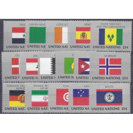 Timbre collection ONU New-York N° Yvert et Tellier 521/536 Neuf sans charnière