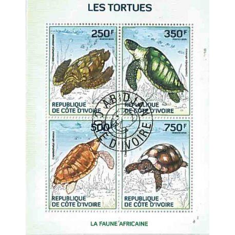 Bloc de 4 timbres Les Tortues