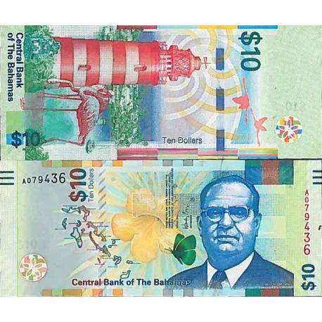 Billet de banque collection Bahamas - PK N° 78 - 10 Dollars