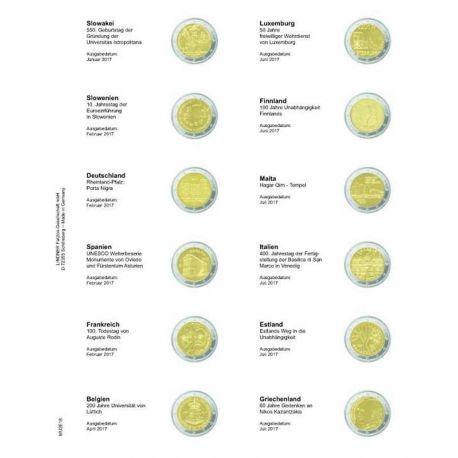 Feuille pour pièces 2 € commémoratives: Janvier 2017 - Juillet 2017