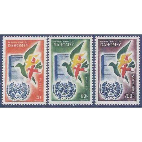 Francobollo raccolta Dahomey N° Yvert e Tellier 168/169 + PA 20 nove senza cerniera