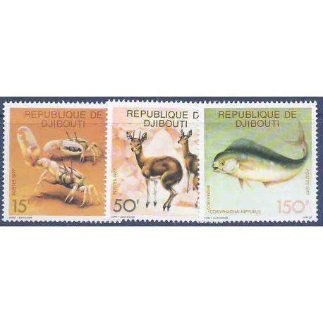 Francobollo raccolta Gibuti N° Yvert e Tellier 473/475 nove senza cerniera