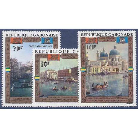 Francobollo raccolta Gabon N° Yvert e Tellier PA 124/126 nove senza cerniera