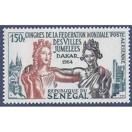 Sello colección Senegal N° Yvert y Tellier PA 41 Nueve sin bisagra