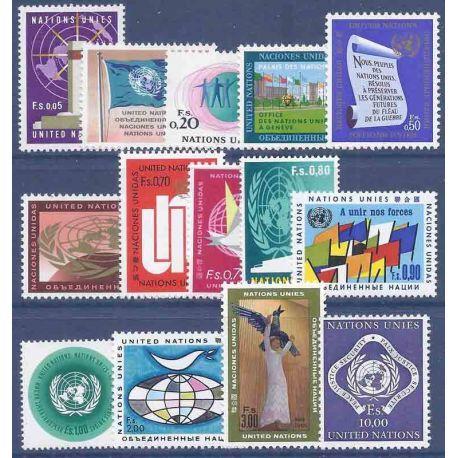 Briefmarkensammlung UNO Genf N° Yvert und Tellier 1/14 neun ohne Scharnier