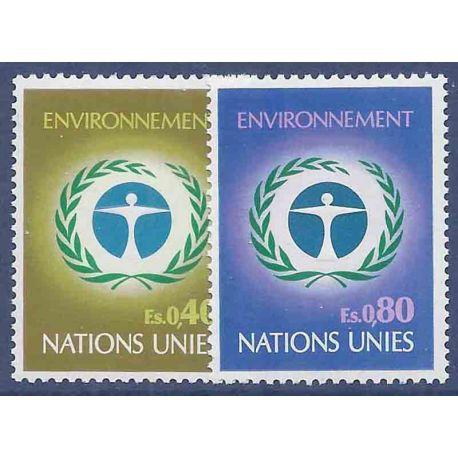 Francobollo raccolta ONU Ginevra N° Yvert e Tellier 25/26 nove senza cerniera